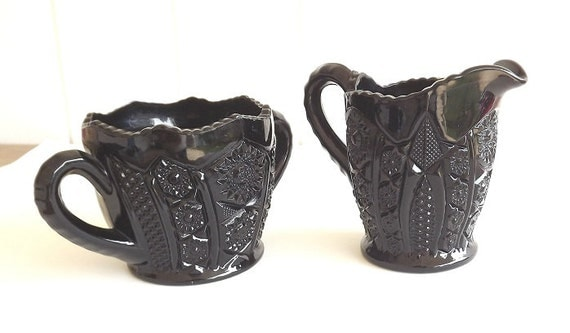 Vintage Creamer and Sugar Tiara Monarch Indiana Glass Black Glass Serving Dishes Kitchenware Glass