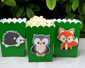 Woodland Creatures Party- Favor Boxes- Baby Shower- Woodland Critter- Candy Boxes- Deer- Owl- Fox- Bear- Popcorn Boxes - Birthday Party
