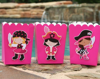 Pirate Girl Party Snack Boxes Favor Boxes- Set of 12