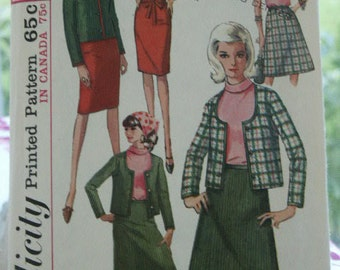Vintage 1960s Simplicity 6085 Misses' Dress or Blouse, Bolero Jacket & Skirt Sewing Pattern Size 16 Bust 36