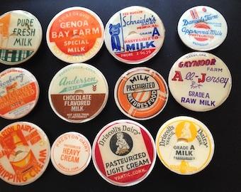 6 magnets Vintage Milk Bottle Caps Fridge Magnets (set of 6)