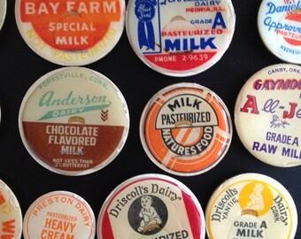 Vintage Milk Bottle Caps Fridge Magnets (set of 6)