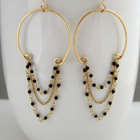 Black Tourmaline and Gold Chandelier Earrings