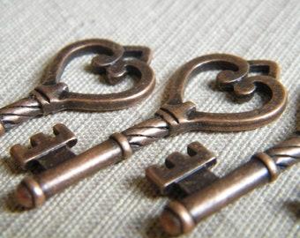 10 x Antique Copper Skeleton Keys Antiqued Replica Keys Skeleton Keys Copper Vintage Key Charms Key Pendants Austen Keys Ornate Key Charms
