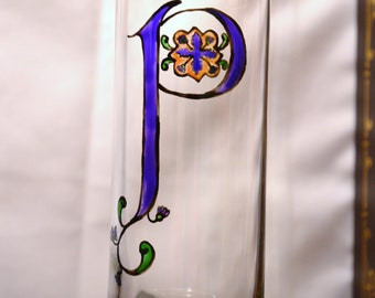 "Initial ""P"" - Handpainted Illumintated Letter - Celtic Style - 12 oz. Glass"