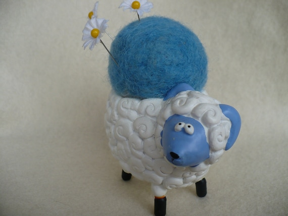 Sheep Pincushion, Refurbished Candlholder