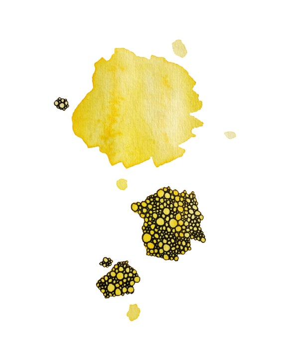 abstract watercolor art print in golden yellow