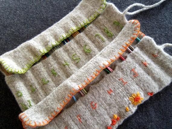 PDF Pattern for Hand Knit Felt Needle Organizer/ 2 sizes: