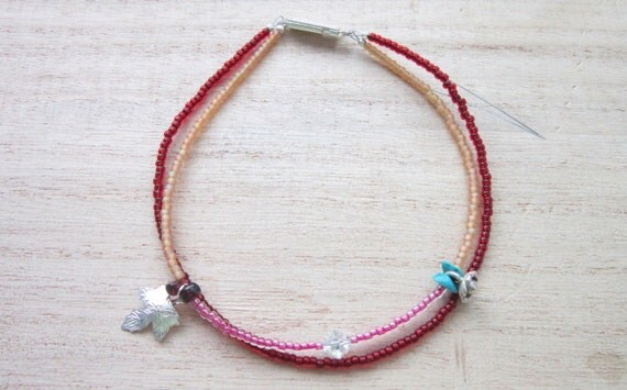 "SALE Anklet toho beads charms ""Hot ,hot summer"""