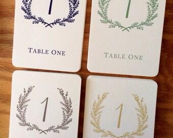 Sweet Vintage Wedding Table Number Signs 1-20 - Custom Color