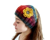 Flower Headband, warm knit headband, knitting, gift, mothers day,  winter trend ,fashion