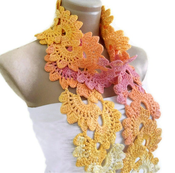 Crocheted Multi Color Bamboo Lace Neckwarmer,scarf,fashion,gift, valentine,  winter trends, fashion, 2012