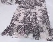 Toile Ruffled Table Runner Black and White by Waverly Country Life
