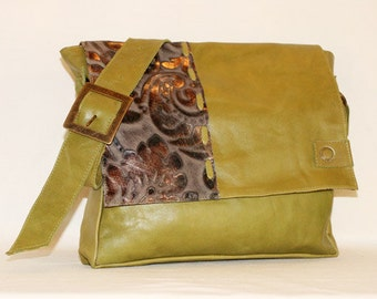 Floral Damask Printed Leather and Green Handbag Genuine Leather beautiful lining