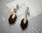Wood KRAMER EARRINGS Clip Silver Tone Vintage