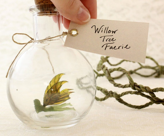 Fairy Bottle - Willow Tree Faerie, Green with Golden wings MADE TO ORDER