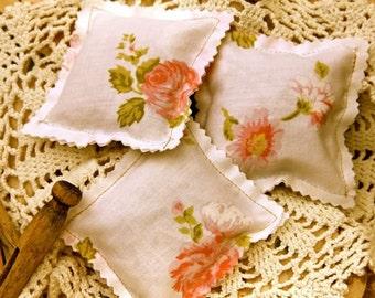 Vintage Linen Sachets Rose Sachets Set of 3 all natural sachets Dried Rose Petals Essential Oils
