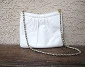 vintage Saks Fifth Avenue White Leather Purse with Metal Chain