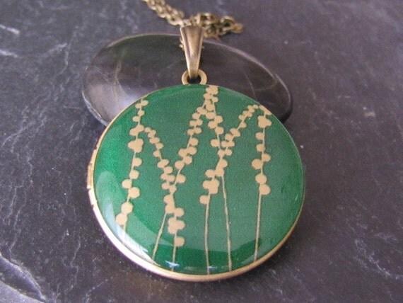 RESERVED for wickedwallace - Green Fields II - Brass photo Locket