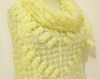 Handmade Crochet Ivory Shawl-Free Shipping