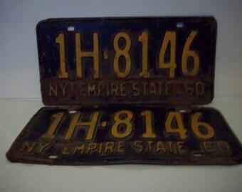 Rusty Gold NY 1960 License Plates