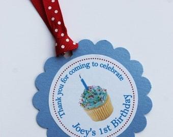 1st Birthday Cupcake Favor Tags