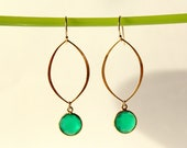 22k Gold Vermeil Marquis and Green Onyx Gold Framed Drop Earrings - Birthday Gift - Bridesmaids Jewelry