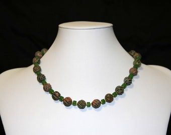 Unakite and Jade necklace and earrings.