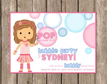 PRINTED Bubble Party Invitation - girl - perfect for a girl's birthday party - customized to any color