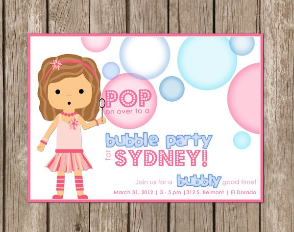 PRINTED Bubble Party Invitation girl perfect for a – Bubble Invitations Birthday