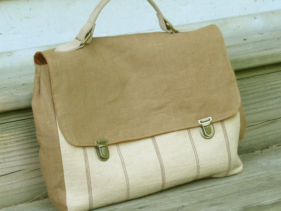 Linen and Leather Briefcase