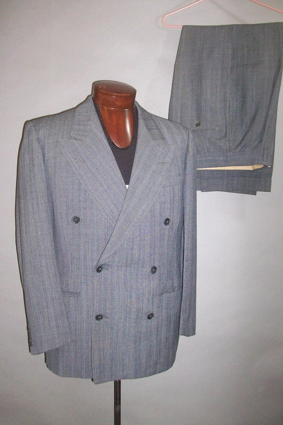 RESERVED for Thibaut...1940s Double Breasted Suit // Penneys TOWN CLAD // Wide Lapels...large