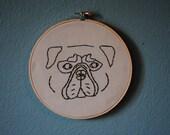 Pug Face Wall Stitch Art/ Wall Decor
