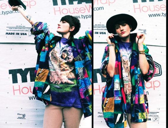 90s COSMIC VIBES Colorful Patchwork Batik SCRIBBLE Slouchy Jacket, xl