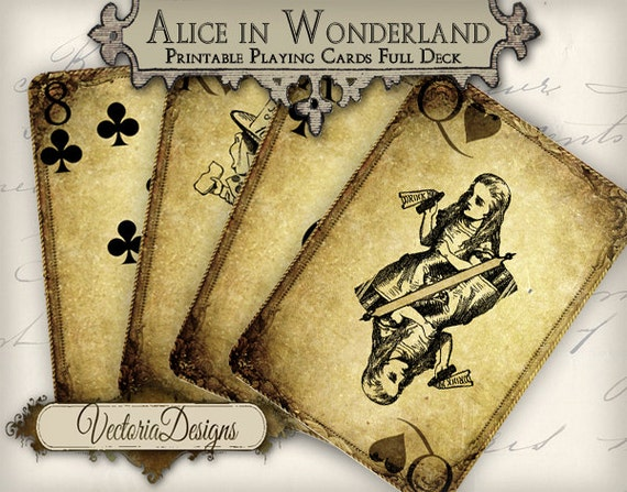 Grunge Alice In Wonderland Playing Cards Full Deck Card Game