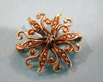 14k Hand Made Sunburst Floral brooch