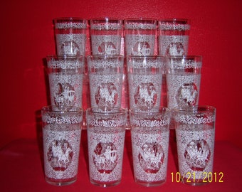 White Floral Design With Horse And Buggy Carriage Drinking Glasses - Hazel Ware Monticello Pattern Tumblers - Set of 12 Glasses