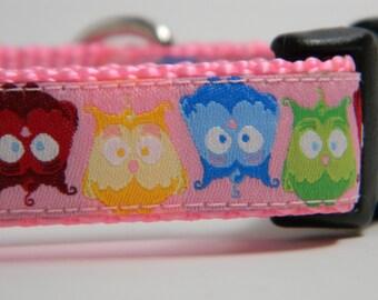 Owl Dog Collar- Topsy Turvy Owls Pink