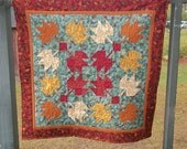 Falling Leaves in Burgandy and Sage Wall Hanging
