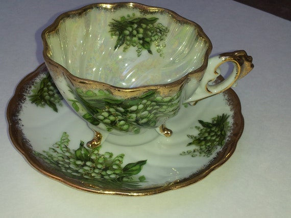 Vintage Original Napco Hand Painted Lily of the Valley Footed Tea Cup and Saucer