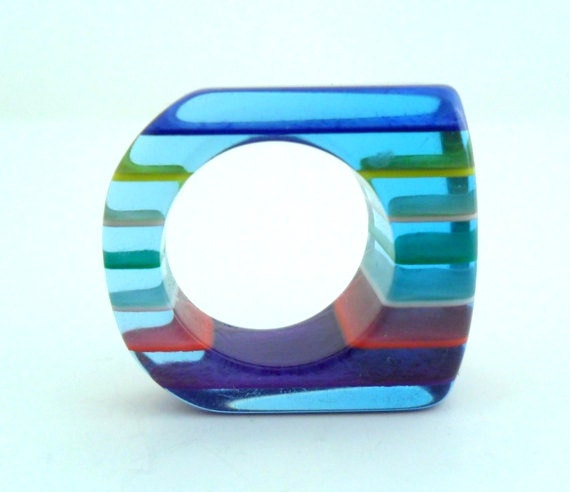 Striped Lucite Ring , Blue Rainbow Op Art, Size 5.5
