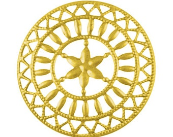 10 Large BRIGHT GOLD Colored Filigree Metal Iron Medallion  STAR  48mm . fil0027