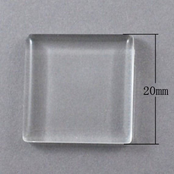 """10 Small Clear SQUARE Glass Dome Seals 20x20mm (3/4"""") for Cabochons, Pendants, Charms, Scrapbooking  hs013"""