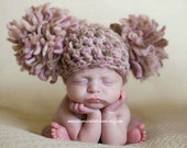 Newborn Photography Prop Baby Girl Infant Crochet Knit Beanie Chunky Double Pom Pom Hat Pink Cream Ivory Off White Beige Brown