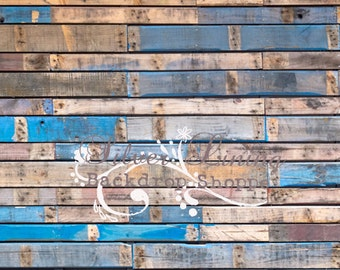 LARGE Backdrop 5'x7' BLUE Barnwood Floor Newborn - Children - Photobooth