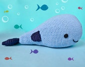 Whale Pillow - PDF Crochet Pattern - Instant Download - Animal Cushion Crochet Nursery Baby Shower decor