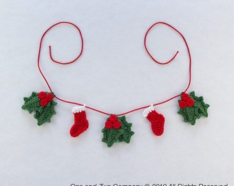 Lovely Christmas Garland - PDF Crochet Pattern - Instant Download - Home Decor Crochet Garland Christmas Ornament