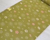 RESERVED Lovely olive green  kimono bolt plum flowers pattern