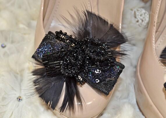 Vintage inspired Black elegance shoe clips