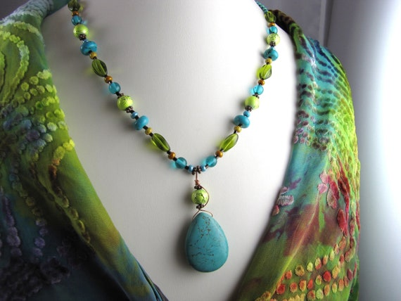 Statement necklace turquoise lime green peridot beaded wire wrapped neon green copper  gemstone necklace